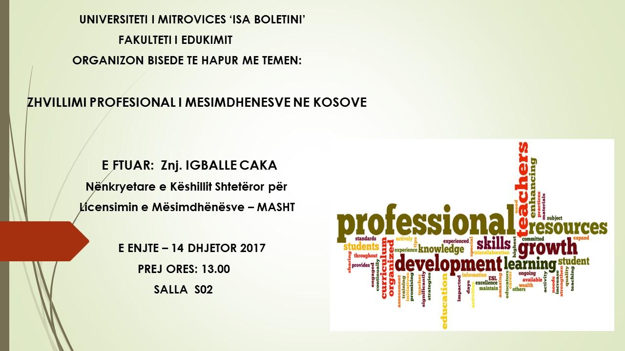 Bisedë e hapur për zhvillimin profesional  të mësimdhënësve në Kosovë